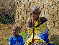 Old Masai Woman and Crying Young Boy
