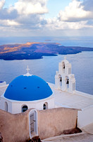 Blue Dome and Bell Tower, Imerovigli, Santorini