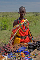Masai Woman Selling Artwork at Village Market