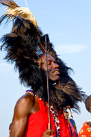 Masai Warrior with Male Lion's Mane Headdress