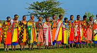 Chanting Masai Women in Colorful Attire