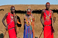 Masai Men and Woman Displaying Traditional Wedding Attire