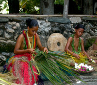 Skillful Yap Girls Weaving Baskets, Yap, Micronesia